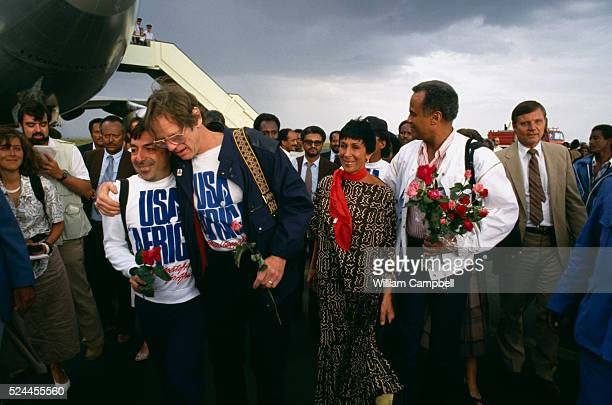 Ken Kragan Julie Belafonte and Harry Belafonte arrive in Addis Ababa on behalf of USA for Africa