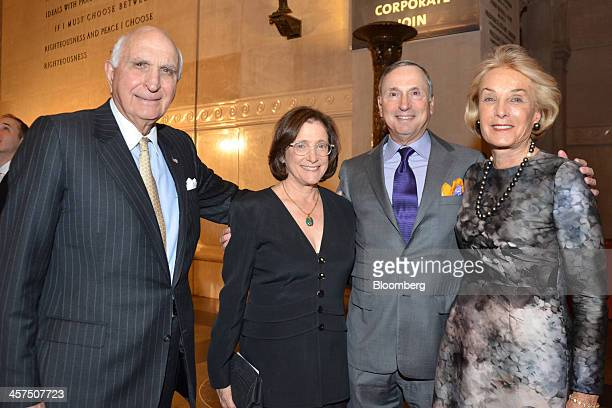 Ken Langone cofounder of Home Depot Inc and chairman of NYU Langone Medical Center left his wife Elaine Langone right Elisabeth Cohen a physician...