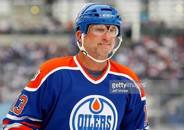 Ken Linseman of the Edmonton Oilers alumni plays in the 2016 Tim Hortons NHL Heritage Classic Alumni Game against the Winnipeg Jets alumni at...