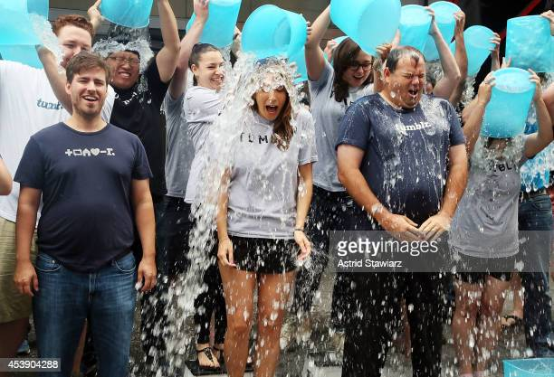 Ken Little VP Engineering at Tumblr Katherine Barna Head of Communications at Tumblr and Lee Brown Head of Global Sales at Tumblr accept the ALS Ice...