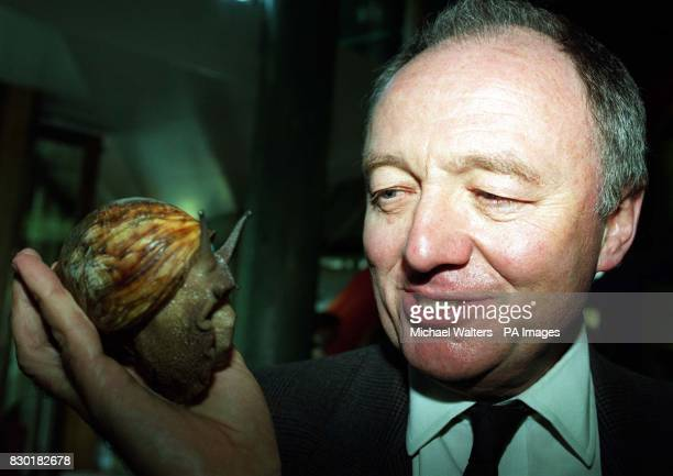 MP Ken Livingstone came face to face with a Giant African Land Snail during a visit to the Web of Life exhibition at London Zoo's Millennium...