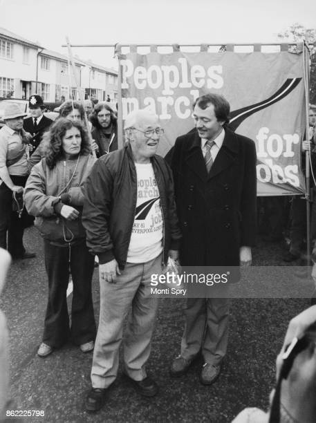 Ken Livingstone leader of the Greater London Council greets the leaders of the People's March for Jobs on their arrival in London from Liverpool 28th...