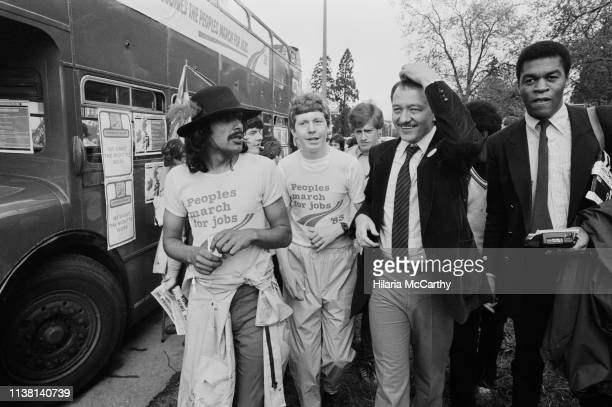 Ken Livingstone , Leader of the Greater London Council, with protesters at the People's March for Jobs rally in Hyde Park, London, UK, 5th June 1983.