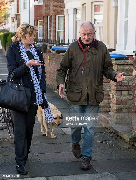 Ken Livingstone talks to a journalist as he walks his dog Coco from his London home on April 22 2016 in London England Former Mayor of London Ken...