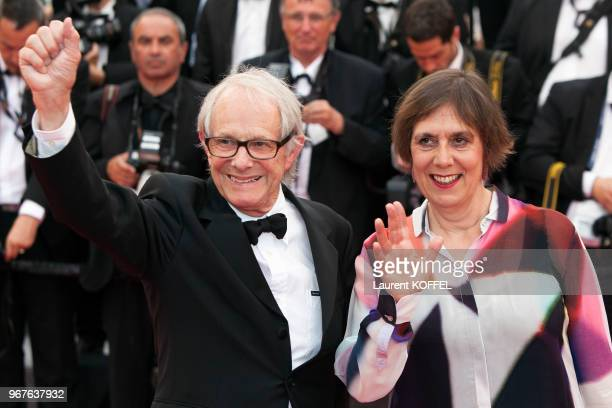 Ken Loach and Rebecca O'Brien attend the Closing Ceremony during the 69th annual Cannes Film Festival on May 22 2016 in Cannes France