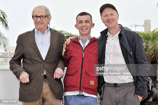 Ken Loach Paul Brannigan and Paul Laverty at the photo call for The Angel's Share during the 65th Cannes International Film Festival