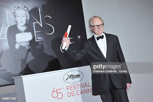 Ken Loach poses with the Jury Prize for The Angels' Share at the Winners Photocall during the 65th Cannes International Film Festival