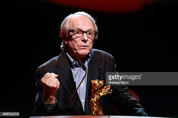 Ken Loach receives his Honoray Golden Bear during the 64th Berlinale International Film Festival at Berlinale Palast on February 13 2014 in Berlin...
