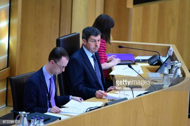 Ken Macintosh Presiding Officer of the Scottish Parliament during a statement by Scottish Higher Education Minister ShirleyAnne Somerville on June 12...