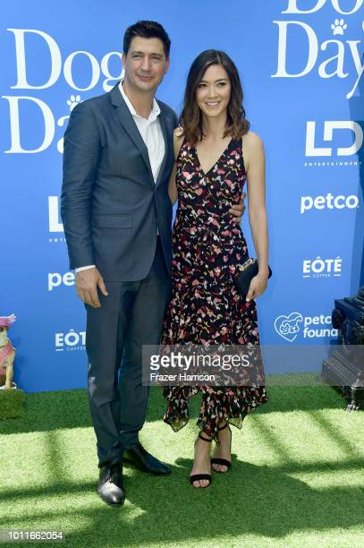 Ken Marino and Erica Oyama attend the preparty for the premiere of LD Entertainment's 'Dog Days' at Westfield Century City on August 5 2018 in...