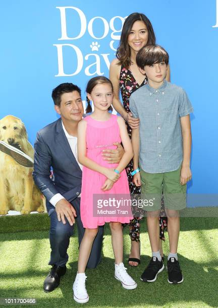 Ken Marino and Erica Oyama with their children attend the Los Angeles premiere of LD Entertainment's 'Dog Days' held at Westfield Century City on...