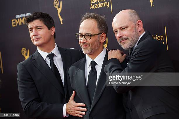 Ken Marino David Wain and Rob Corddry arrive at the Creative Arts Emmy Awards at Microsoft Theater on September 10 2016 in Los Angeles California