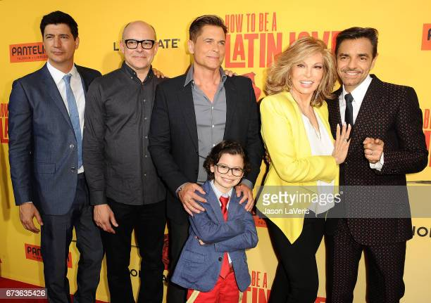Ken Marino Rob Corddry Rob Lowe Raphael Alejandro Raquel Welch and Eugenio Derbez attend the premiere of 'How to Be a Latin Lover' at ArcLight...