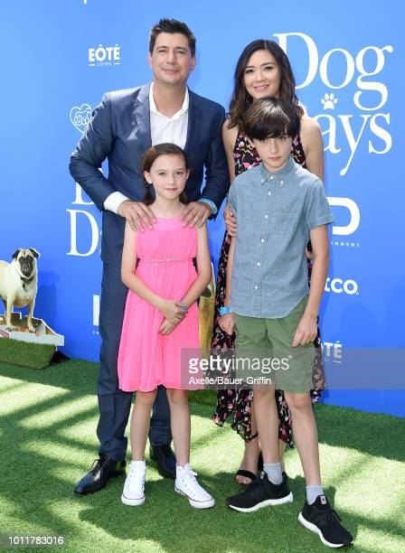 Ken Marino wife Erica Oyama and family arrive at the premiere of LD Entertainment's 'Dog Days' at Westfield Century City on August 5 2018 in Century...