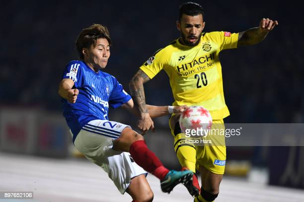 Ken Matsubara of Yokohama FMarinos and Ramon Lopes of Kashiwa Reysol compete for the ball during the 97th Emperor's Cup semi final match between...