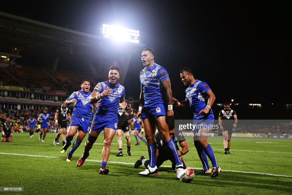 Ken Maumalo of Samoa celebrates after scoring a try during the 2017 Rugby League World Cup match between the New Zealand Kiwis and Samoa at Mt Smart Stadium on October 28, 2017 in Auckland, New Zealand.