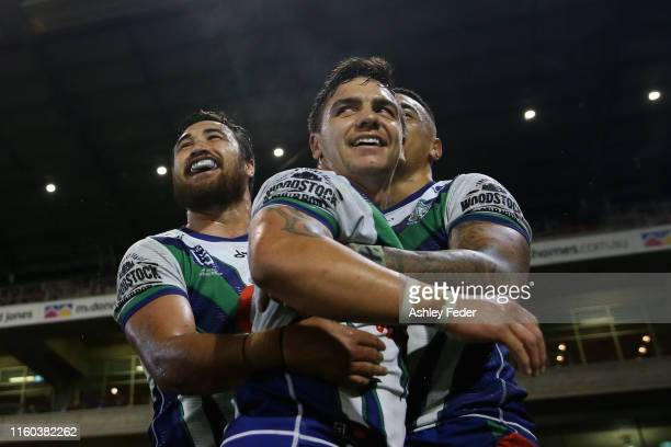 Ken Maumalo of the New Zealand Warriors celebrates with team mates during the round 16 NRL match between the Newcastle Knights and the New Zealand...