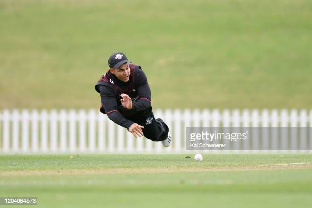 Ken McClure of Canterbury fields the ball during the Ford Trophy match between Canterbury and Otago at Hagley Oval on February 05 2020 in...