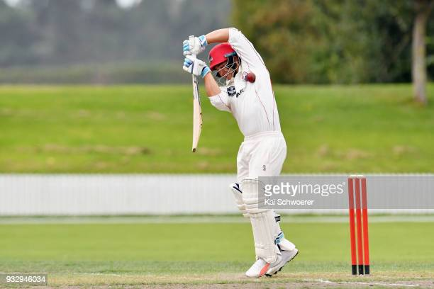 Ken McClure of Canterbury is hit by a ball during the Plunket Shield match between Canterbury and Auckland on March 17 2018 in Rangiora New Zealand