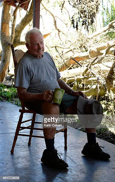 Ken McLachlan takes a break from clearing his animal refuge property on February 23 2015 in Byfield Australia Ken and his partner Ivy Byrom have run...