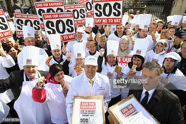 Ken McMeikan the Chief Executive of Greggs joins bakers demonstrating on Whitehall in front of Downing Street against the Government's proposed...