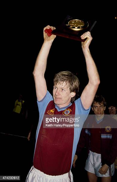 Ken McNaught of Aston Villa holding the trophy and his medal after the European Super Cup Final 2nd leg match held at Villa Park Birmingham on 26th...