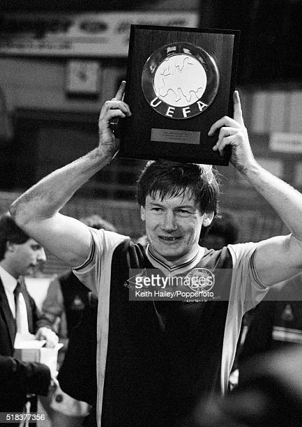 Ken McNaught of Aston Villa holds up the UEFA Super Cup Shield after Aston Villa won the UEFA Super Cup Final 2nd Leg against Barcelona at Villa Park...