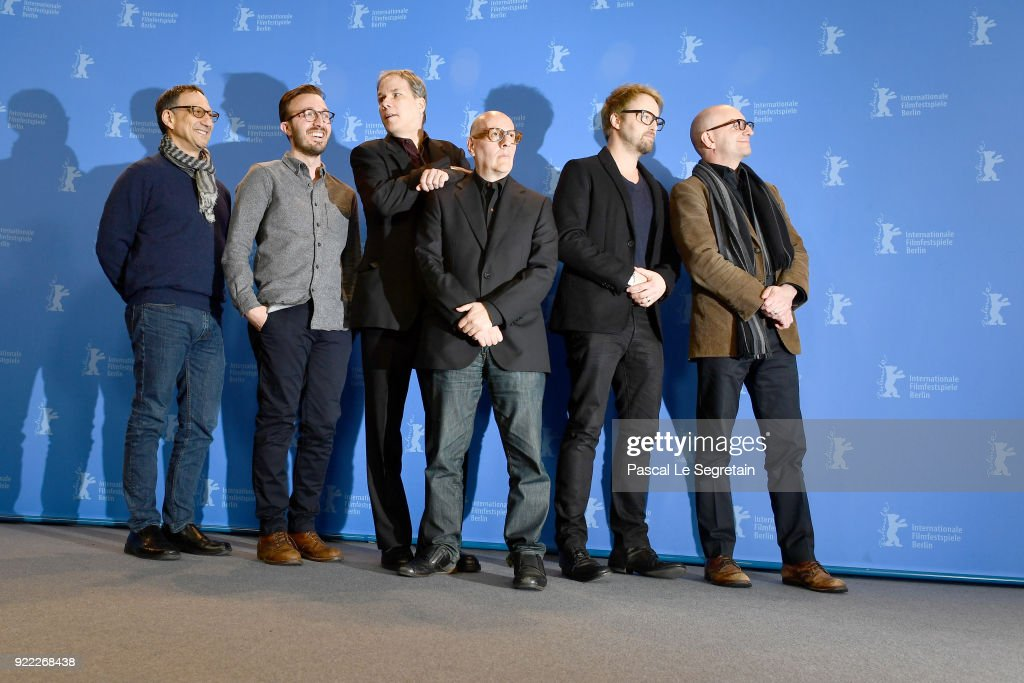Ken Meyer, Joe Malloch, Jim Greer, Jonathan Bernstein, Joshua Leonard and Steven Soderbergh pose at the 'Unsane' photo call during the 68th Berlinale International Film Festival Berlin at Grand Hyatt Hotel on February 21, 2018 in Berlin, Germany.