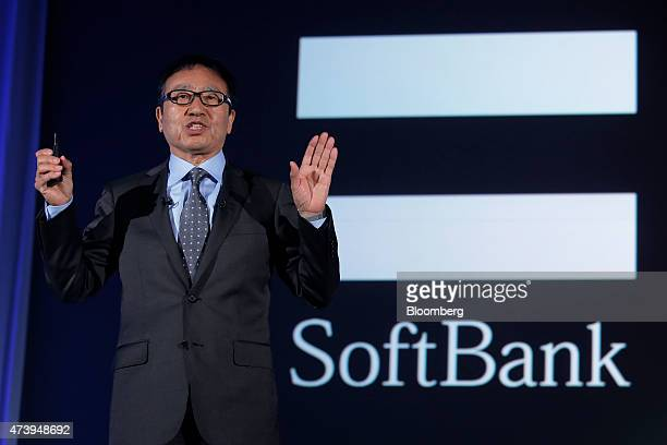 Ken Miyauchi, executive vice president at SoftBank Corp. And chief executive officer of SoftBank's mobile unit, speaks during a product launch in...