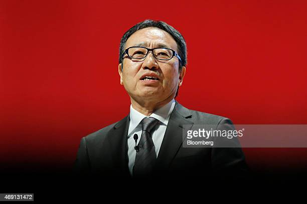 Ken Miyauchi, executive vice president of SoftBank Corp., speaks at the Oracle CloudWorld 2015 conference in Tokyo, Japan, on Friday, April 10, 2015....
