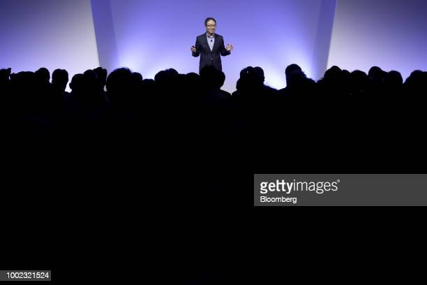 Ken Miyauchi, president and chief executive officer of SoftBank Corp., speaks at the SoftBank World 2018 event in Tokyo, Japan, on Friday, July 20,...