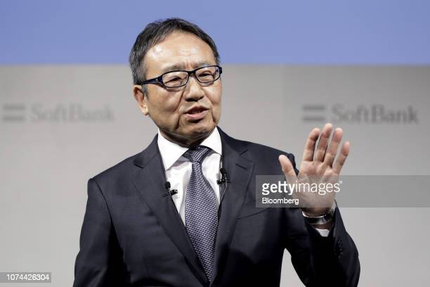 Ken Miyauchi, president and chief executive officer of SoftBank Corp., speaks during a news conference in Tokyo, Japan, on Wednesday, Dec. 19, 2018....