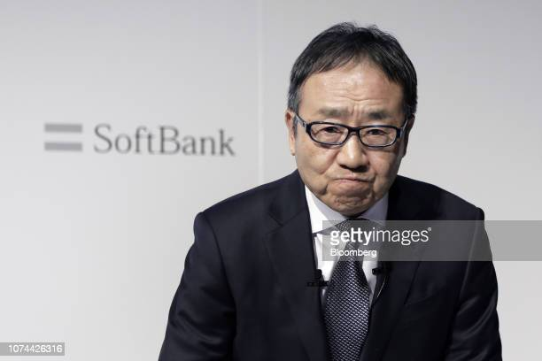 Ken Miyauchi, president and chief executive officer of SoftBank Corp., attends a news conference in Tokyo, Japan, on Wednesday, Dec. 19, 2018. The...