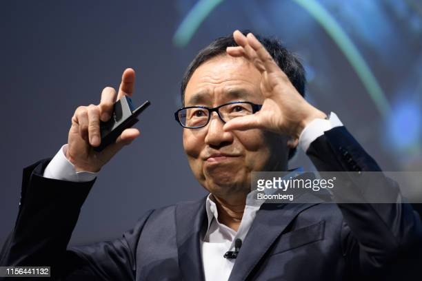 Ken Miyauchi, president and chief executive officer of SoftBank Corp., speaks during the SoftBank World 2019 event in Tokyo, Japan, on Friday, July...