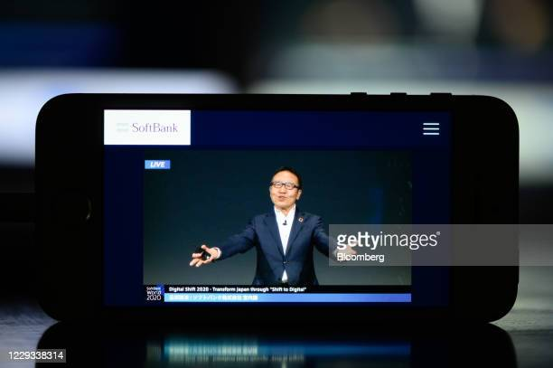 Ken Miyauchi, president and chief executive officer of SoftBank Corp., during a telecast of the SoftBank World event in Tokyo arranged in Kawasaki,...