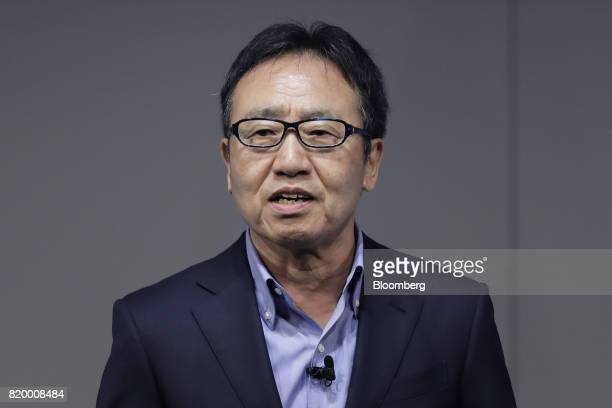 Ken Miyauchi, president and chief executive officer of SoftBank Corp., speaks at the SoftBank World 2017 event in Tokyo, Japan, on Friday, July 21,...