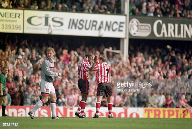 Ken Monkou celebrates his goal with team-mate Matthew Le Tissier of Southampton during the FA Carling Premiership match between Southampton and...