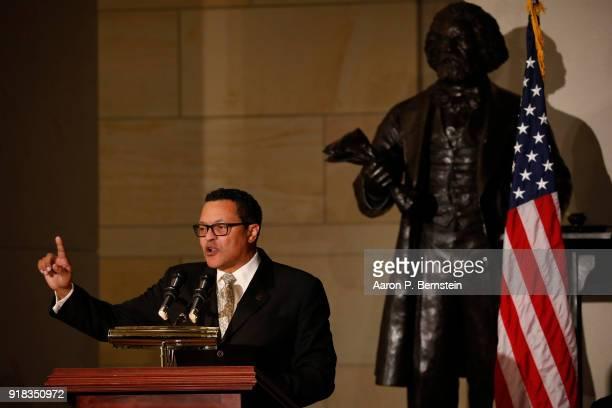 Ken Morris a descendant of Frederick Douglass speaks at an event honoring the bicentennial of Frederick Douglass' birth on Capitol Hill on February...