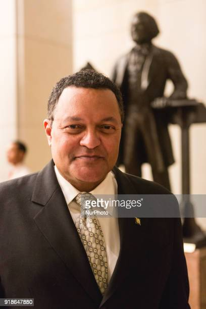 Ken Morris poses in front of the statue of his great great great Grandfather Frederick Douglass at the Commemoration of the Bicentennial of the Birth...