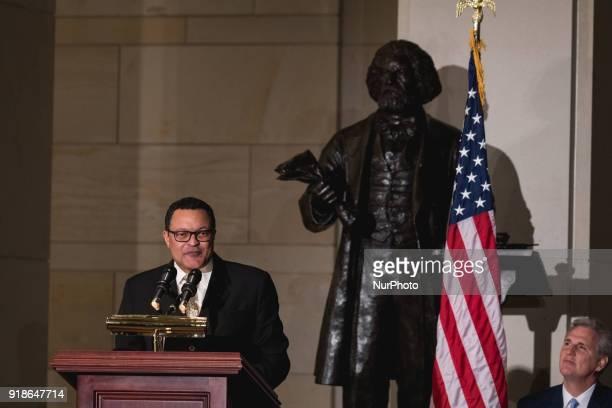 Ken Morris the great great great grandson of Frederick Douglass and great great grandson of Booker T Washington speaks as Majority Leader Kevin...