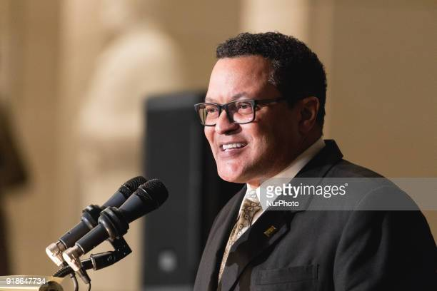 Ken Morris the great great great grandson of Frederick Douglass and great great grandson of Booker T Washington speaks at the Commemoration of the...