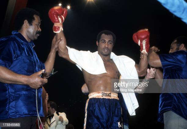 Ken Norton celebrates winning the fight against Ron Stander at Capital Centre in Landover, Maryland. Ken Norton won by a TKO 5.