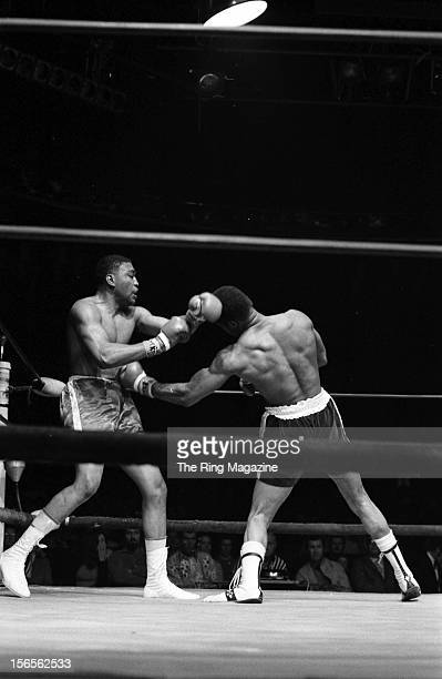 Ken Norton lands a left hook to Steve Carter during a bout at the Valley Arena in April1971 in Los Angeles California