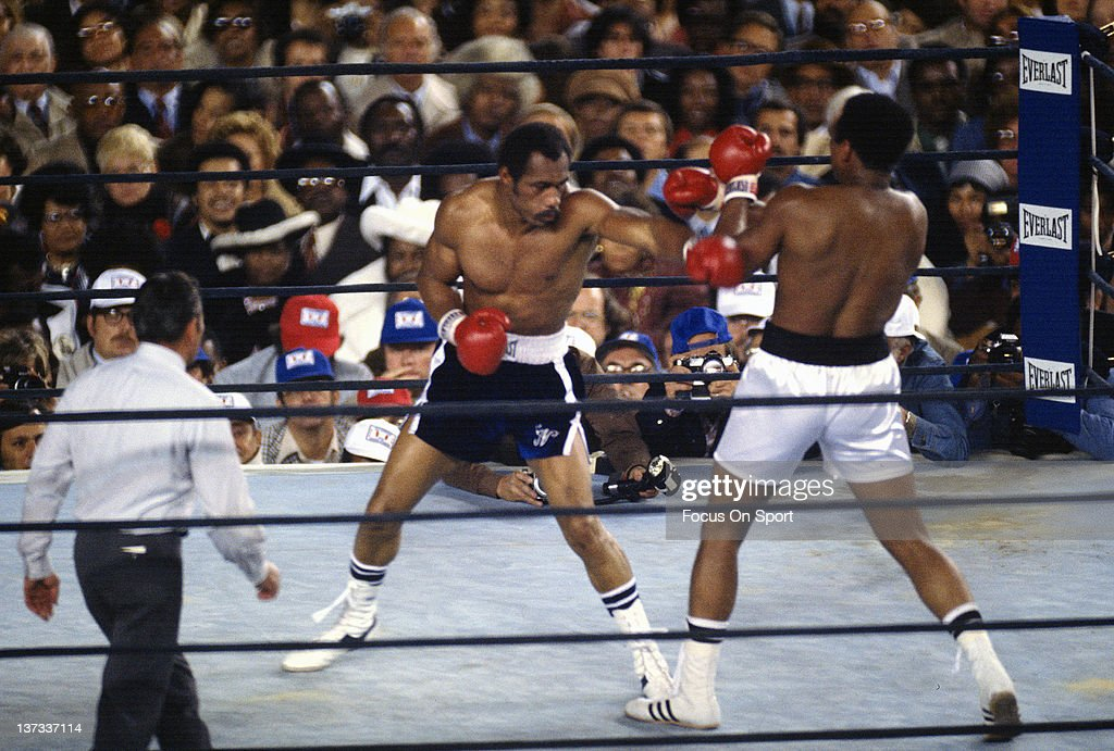 Ken Norton, left, throws a punch at Mohammad Ali, right, during the WBC/WBA heavyweight title fight September 28, 1976 at Yankee Stadium in Bronx borough of New York City. Ali retained the title with a twelve round unanimous decision.