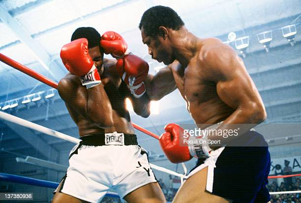 Ken Norton right fights Jimmy Young left in an Eliminator WBC heavyweight fight November 5 1977 at Caesar's Palace in Las Vegas Nevada Norton won the...