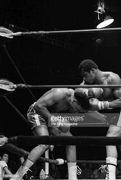 Ken Norton throws a right hook to Steve Carter during a bout at the Valley Arena in April1971 in Los Angeles California