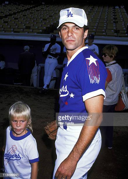 Ken Olin and son Clifford Olin during Hollywood All Star Charity Baseball Game August 26 1989 at Dodgers Stadium in Los Angeles California United...