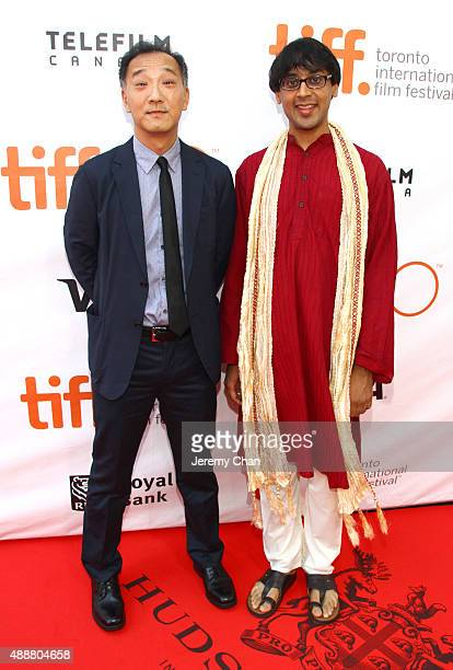 Ken Ono and Manjul Bhargava attend 'The Man Who Knew Infinity' premiere during the 2015 Toronto International Film Festival at Roy Thomson Hall on...