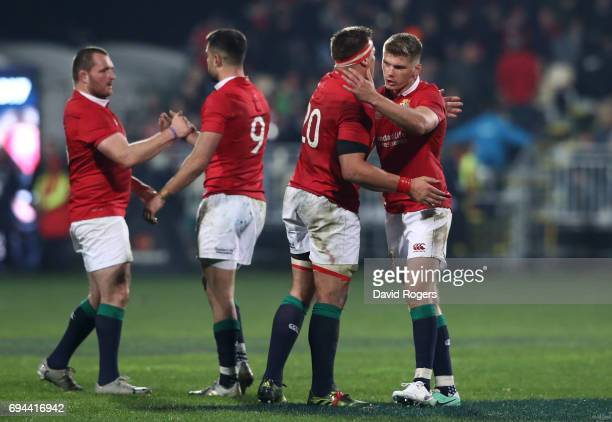 Ken Owen Conor Murray CJ Stander and Owen Farrell of the Lions celebrate following their team's 123 victory during the 2017 British Irish Lions tour...