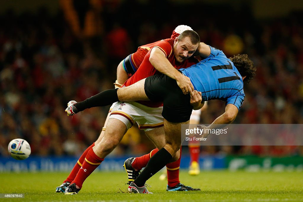 Ken Owens of Wales tackles Rodrigo Silva of Uruguay during the 2015 Rugby World Cup Pool A match between Wales and Uruguay at the Millennium Stadium on September 20, 2015 in Cardiff, United Kingdom.